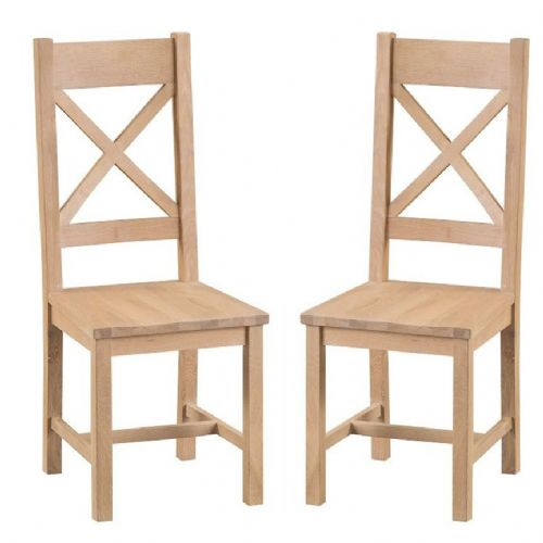 Oxford Oak Cross Back Chair With Solid Pad